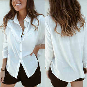 Solid Color Casual Long-Sleeved Shirt With Fungus