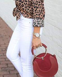 Long Sleeve Ladies Leopard Shirt