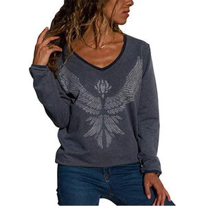 Solid Color Printed Long-Sleeved   T-Shirt