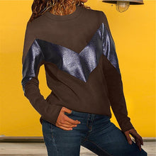 Load image into Gallery viewer, Leather Stitching Round Neck Collar Color Long Sleeve Loose Top