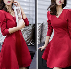Autumn/Winter Elegant Slim V-Neck Pleated Skater Dress