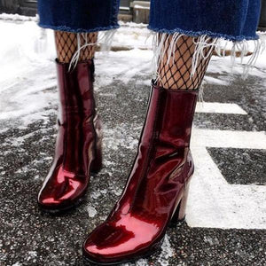 Square With High-Heeled Patent   Leather Boots