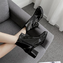 Load image into Gallery viewer, Square With High-Heeled Patent   Leather Boots