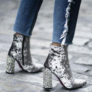 Thick With Sequined High Heel   Boots