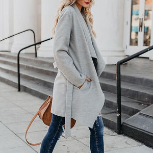 Slim Long-Sleeved Solid Color   Versatile Coat