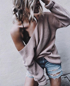 Casual Fashion Solid Color   Pullover V-Neck Sweater