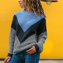Load image into Gallery viewer, Semi-High Collar Pullover Loose Contrast Ribbed Sweater