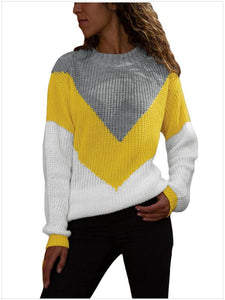 Semi-High Collar Pullover Loose Contrast Ribbed Sweater