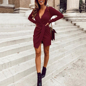 V-Neck Cross Irregular Pit   Long-Sleeved Dress
