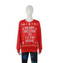 Load image into Gallery viewer, Christmas Red Printed Loose Hoodie