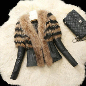 PU Leather Coat Winter Jacket Faux Fur Collar Soft Outwear
