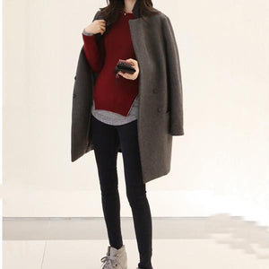 Autumn/Winter New Mid-Length Lapel Woolen Coat