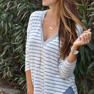 Deep V Long Sleeve Hooded Loose Striped Top