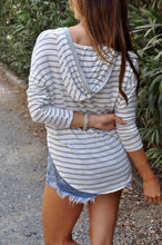 Load image into Gallery viewer, Deep V Long Sleeve Hooded Loose Striped Top