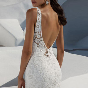 Lace Backless Deep V Sleeveless   Dresses