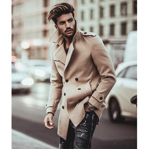 Business Fashion Slim Solid Color Button Lapel Long Sleeve Suit Men Outerwear