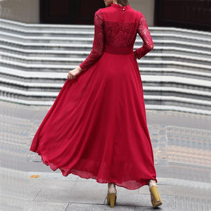 Slim Lace Stitching Stand Collar Long Sleeve Evening Dress