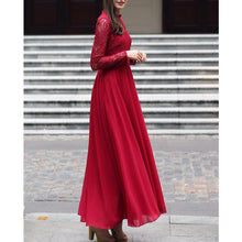 Load image into Gallery viewer, Slim Lace Stitching Stand Collar Long Sleeve Evening Dress