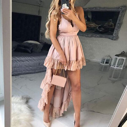 Solid Color Sling V-Neck Sexy   Dress
