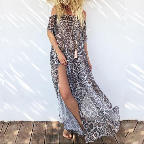 Casual Sexy Boat Neck   Bohemian Style Print Split Beach Maxi Dresses