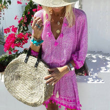 Load image into Gallery viewer, 2019 V Collar  Defined Waist Loose Vacation Dress