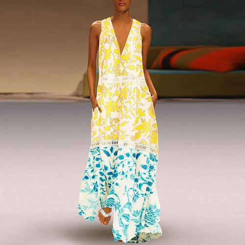 Commuting V Neck Printed Colour Splicing Hollow Out Vacation Maxi Dress