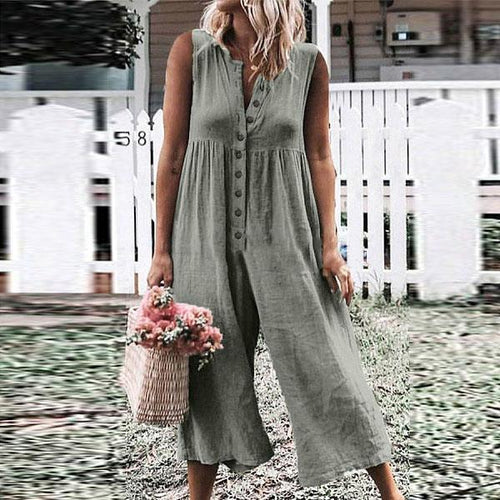 Casual Round Neck Sleeveless   Wide Leg Loose Jumpsuit