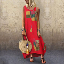 Load image into Gallery viewer, Sexy Round Neck Sleeveless Print Sling Dress