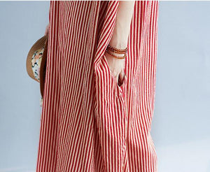 Fashionable Round Collar Loose Stripe Short Sleeve Dress