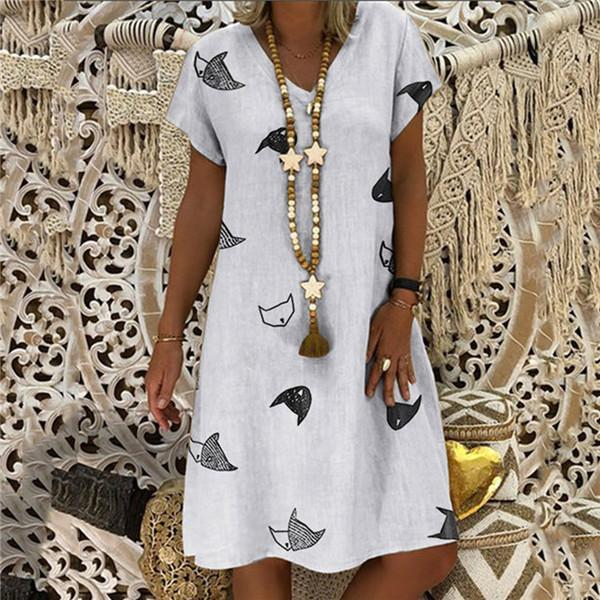 Sexy Printed V Collar Short Sleeves Casual Dresses