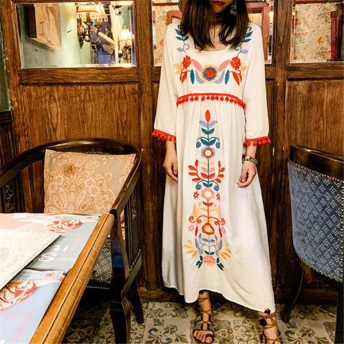 Bohemian Holiday Embroidered Loose Cotton Dress