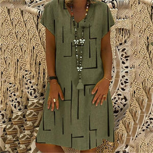 Fashion Printed V Collar Short Sleeved Casual Dresses