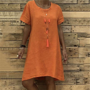 Fashion Cotton And Hemp Short Sleeve Casual Dresses