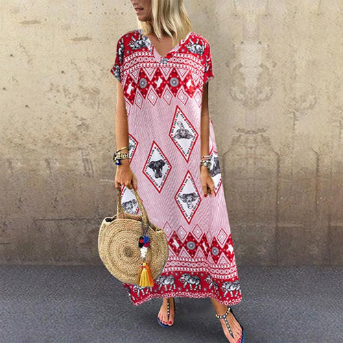 Bohemian V Neck Printed Colour Batwing Sleeve Dress