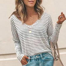Load image into Gallery viewer, Striped V-Neck Casual Loose T-Shirt