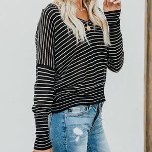 Striped V-Neck Casual Loose T-Shirt