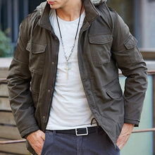 Load image into Gallery viewer, Mens Solid Color Pocket Hooded Jacket