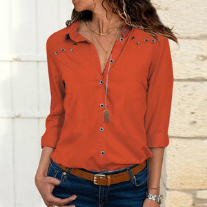 Long Sleeved Sexy Buttoned Hole Solid Color Blouses