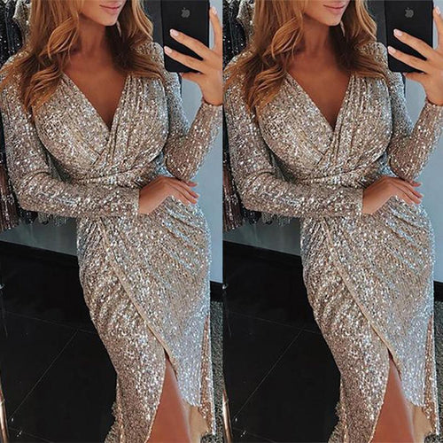 V-Neck Sparkling Split Dress