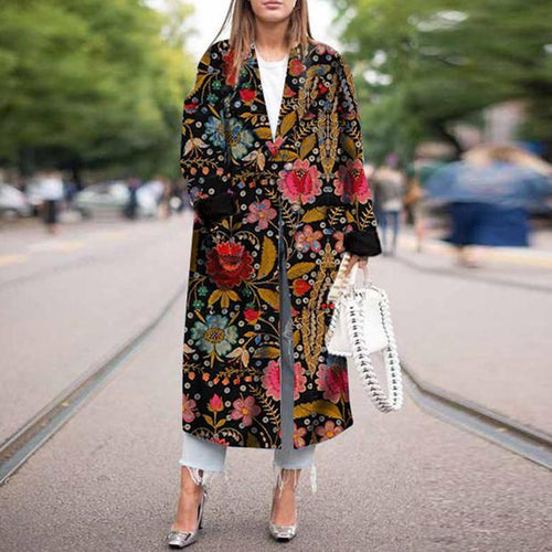 Stretch printed long-sleeve coat