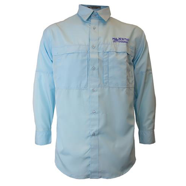 Majestic Outdoors Long Sleeve Fishing Shirt - Sky Blue