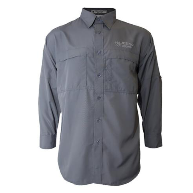 Majestic Outdoors Long Sleeve Fishing Shirt - Gray