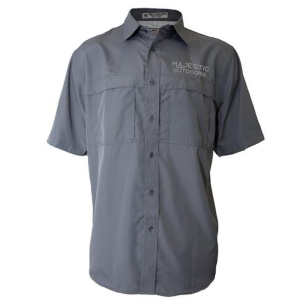 Majestic Outdoors Short Sleeve Fishing Shirt - Gray