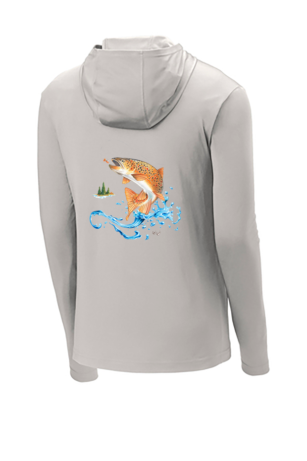 Brown Trout Hooded Long Sleeve Tech Tee