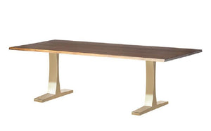 Oak & Brushed Gold Live Edge Dining Table