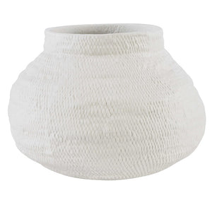 White Basket Vase