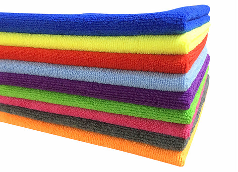 SOFTSPUN B Quality Microfiber Cloth - Going Cheap! 50 pcs - 40x40 cms - 340 GSM - Assorted Colour - Thick Lint & Streak-Free Multipurpose Cloths - for Car Bike Cleaning Polishing Washing & Detailing.