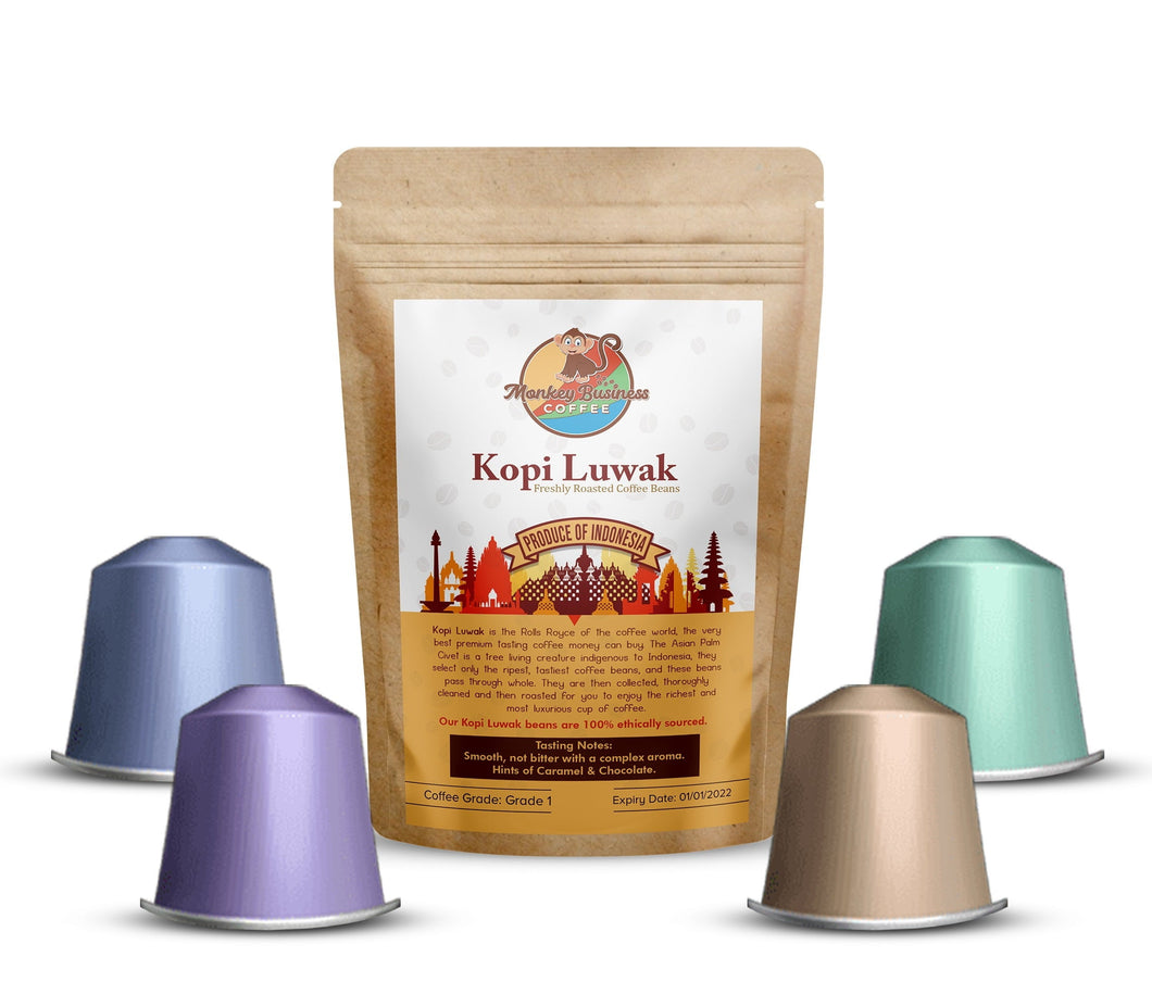 Monkey Business™ Nespresso® Compatible Coffee Capsules / Pods - Wild Kopi Luwak Coffee