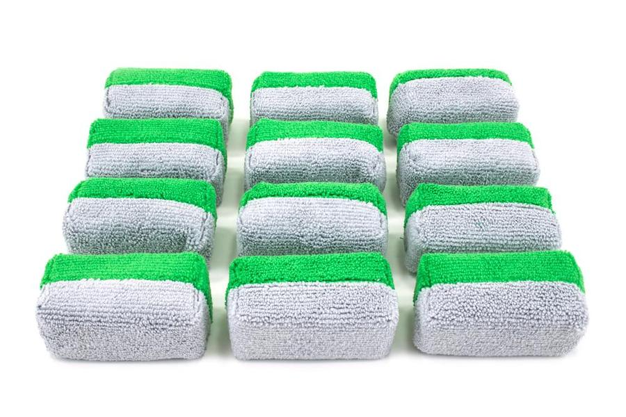 MINI Microfibre Ceramic Coating Applicator Sponge with Plastic Barrier 12 Pack [Saver Applicator Terry]