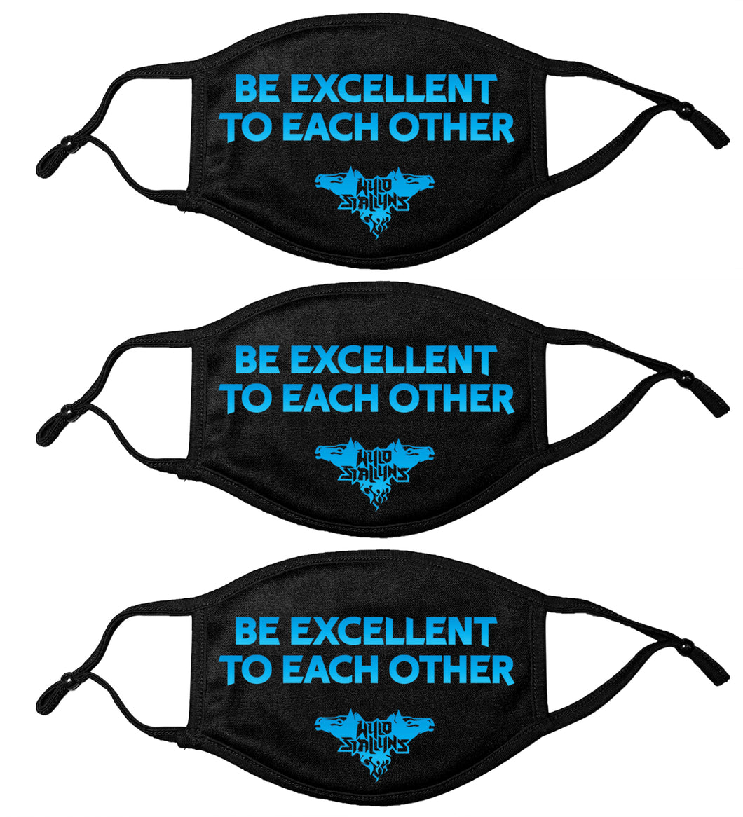ALL NEW! 3 PACK -ADULT Be Excellent To Each other! Face Mask